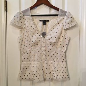 Marc Jacobs Cream Embroidered Floral  Peplum Shirt
